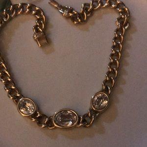 Vintage Swarovski choker gold plated Signed SAL